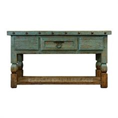 Turquoise Colored Old Wood Console| Old Wood Console