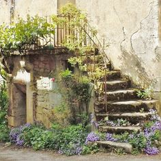 Lawn and Garden Tools Basics Europe Art Print Featuring The Photograph Stairway With Flowers Flavigny France By Marilyn Dunlap Fachada Colonial, France Art, Garden Arbor, Beaux Villages, French Countryside, French Country Style, Exotic Flowers, Flowers Uk, Old Houses