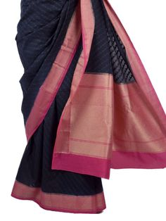 Black-Pink Handwoven Kora Cotton Saree