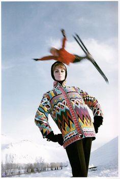 Ski fashion shot by Peter Beard for Vogue, 1964.