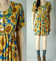 vintage 90s grunge SUNFLOWER BABYDOLL DRESS by sheHEARTSvintage