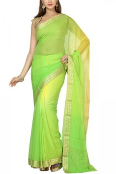 Lime Green Shaded Zari Border Pure Chiffon Saree