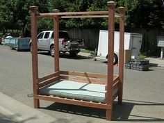 I REALLY, really want one!!  How to Build a Redwood Canopy Bench : How-To : DIY Network