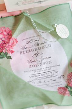 A handkerchief wedding invitation to wipe away any tears of joy and to wave as the happy couple makes their exit. /// Photo by Katelyn James Photography {Photo via Project Wedding}