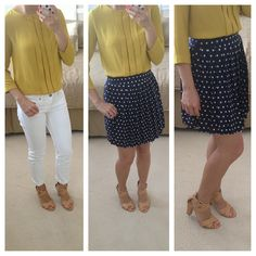 StylishPetite.com | Review: J.Crew, Kate Spade neon pumps, Ann Taylor polkadots and Guess shoes