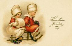 Joulukortti 1920-luvulta. #joulu #helsinki Vintage Christmas, Christmas Cards, Old Postcards, Helsinki, Winter, Joy, Painting, Times, Mini