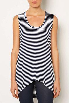 Tops - Stripe Hi Low Tunic - Witchery Fashions Pty Ltd