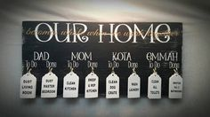 Chore Boards Family Chores Gift Idea Family Names by SignChik