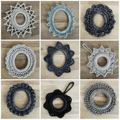 pigtails: ornaments crocheted around a curtain ring or a oval frame....with simple diagrams