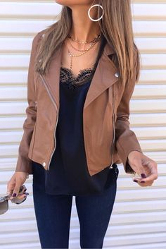 #winter #outfits  brown leather zip-up jacket outfit