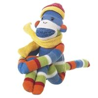 Pogo is a small sock monkey with bright stripes of blue, green, orange, red, and white (plus a sunny yellow scarf!). Pogo ($17.99) is a stuffed animal that gives back. Ten percent of his cost goes straight to charity! Learn more at www.MonkeezAndFriends.com.