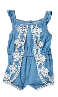 cutest little chambray romper with lace details #toddler #affiliate