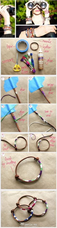 DIY - cute leather bracelet. This looks easy enough.