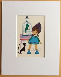 Jaklien Moerman Retro Postcard mounted and ready to frame Birdcage