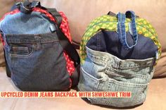 therusty_hen_crafts: Upcycle Jean Backpack, Denim Crafts, Tied Shirt, Sweater Shirt, Denim Jeans, Upcycle, Backpacks, Sneakers, Shirts