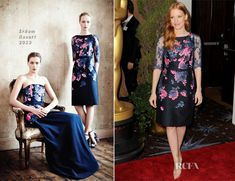 Jessica Chastain Erdem.  ilove this lady like look. Beautiful detailing on the sleeves lovely colors.