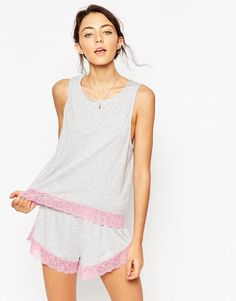 ASOS | ASOS Lace Trim Tank & Short Set at ASOS