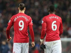 Zlatan Ibrahimovic and Paul Pogba of Manchester United in action during the Premier League match between Manchester United and Tottenham Hotspur at...