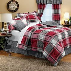 red and gray plaid bedding for teen boys room. Rustic Boys Room, Plaid Bedding, Plaid Bedroom, Bed, Home, Country Bedroom, Bedroom Red, Home Decor, Grey Bedding