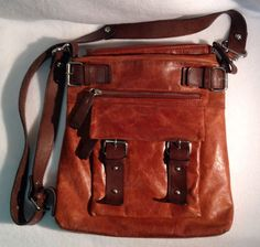 Anthropologie Tano Brown Glazed Leather Crossbody Purse Messenger Bag  #Tano #MessengerCrossBody