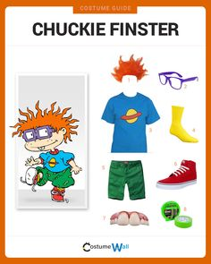 Dress Like Chuckie Finster from the Rugrats. See additional costumes and outfits of Chuckie. Top Halloween Costumes, Halloween Kostüm, Diy Costumes, Halloween Decorations, Halloween Couples, Homemade Halloween, Costume Ideas, Chuckie Rugrats, Costumes