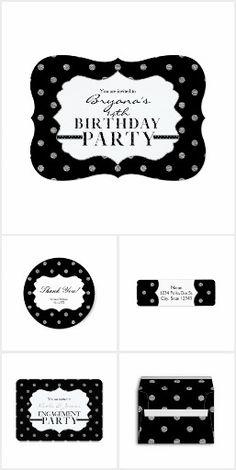 Black & Silver Polka Dots Party Invitations