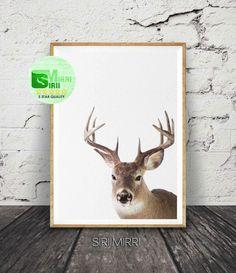Deer Print, Deer Head and Antlers, Printable Wall Art Poster, Large, Digital Download, Woodlands Nursery Decor, Modern Minimalist by SiriiMirri on Etsy