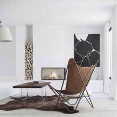 Living room. White. Fireplace