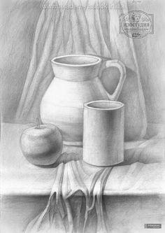 Курсы рисования в Днепропетровске Still Life Pencil Shading, Easy Still Life Drawing, Still Life Sketch, Still Life Art, Art Drawings Sketches Simple, Pencil Art Drawings, Easy Drawings, Basic Sketching, Basic Drawing