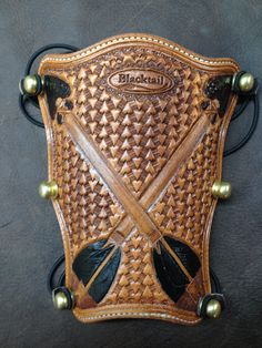 Black Tail Bow Arm Guard. Arm Guard, Bowhunting, Leather Stamps, Leather Carving, Leather Projects, Archery, Swords, Arrows, Leather Craft
