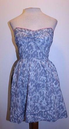 Aeropostale Bethany Mota Dress M Elastic Waist Cutout Back Pocket Denim Sundress #Aropostale #Sundress #Casual