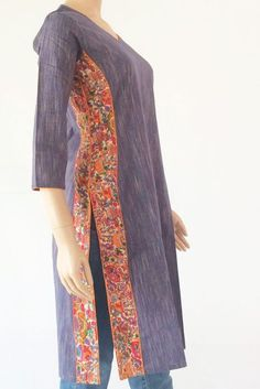 Kurta: Khadi cotton, - All About Salwar Pattern, Kurta Patterns, Dress Patterns, Designs For Dresses, Dress Neck Designs, Blouse Designs, Kurta Designs Women, Salwar Designs, Kleidung Design