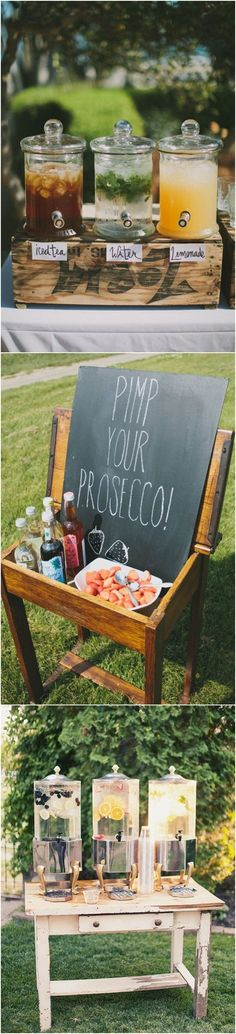 chic vintage diy wedding drink bar ideas