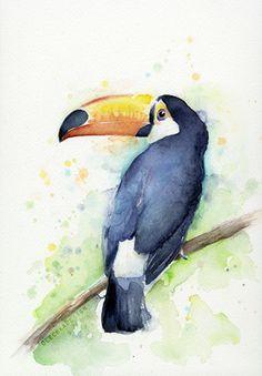 Toucan_original-watercolor. --  Art by Olga Shvartsur