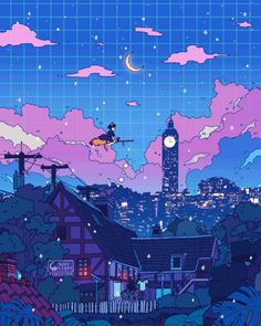 Some Ghibli animation! Hope this helps you guys who are about to sleep. ✨👀 🌃 This animation will be available as a live wallpaper at my patreon for October! 🎶Music: A town with an ocean view (music box version) ✨🌙✨🌙✨🌙✨ Anime Scenery Wallpaper, Aesthetic Pastel Wallpaper, Aesthetic Wallpapers, Arte Do Kawaii, Kawaii Art, Animes Wallpapers, Live Wallpapers, Aesthetic Art, Aesthetic Anime