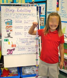 "Comprehension Pin 1   This is the Retelling Ribbon. The Retelling Ribbon is what the children can hold while they retell a story. On the ribbon it has pictures of what they know as setting, characters, problem, happenings (beginning, middle, end), and solution. In case they forget what each means, the ""anchor chart"" will be next to them with bigger sizes of the pictures and their definitions."