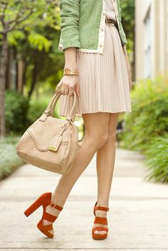Red Shoes w/ neutrals add a bright pop of color (shoes: Elizabeth and James)