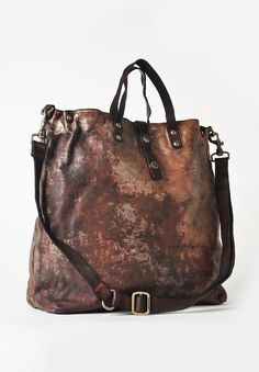 Campomaggi Unica Tote Bag in Brown/Steel Santa Fe Dry Goods Cuir Vintage, Vintage Bags, Vintage Leather, Purses And Handbags, Leather Handbags, Leather Bags, Leather Totes, Leather Backpacks, Leather Purses