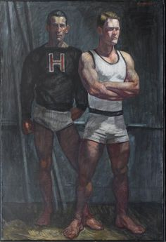 Mark Beard - Harvard Athletes (Contemporary Oil Portrait of Two Male Athletes) 20th Century Painters, Beard Art, Queer Art, Art Of Man, Oil Portrait, Singer Sargent, Athletic Men, Male Figure, Gay Art