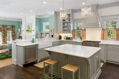 Kitchen by Colordrunk Designs. I love colour instead of all the neutrals that are very prevalent