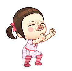 LINE Official Stickers - Neneng Gesrek: Little Crazy Girl Example with GIF Animation