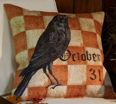 Halloween Crow Outdoor Pillow   Pottery Barn