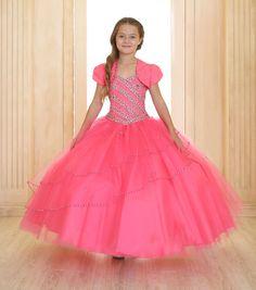 Girls Beaded Ball Gown with Bolero Jacket – FirstCommunions.com