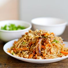 This hoisin pork with rice noodles recipe is like a giant stir fry that includes delicate rice noodles. Lots of veggies and tons of flavor.