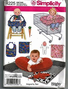 One size Simplicity 4225 Baby Accessory Sewing Pattern for Baby Boy and Girl by Teri