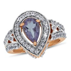 Viola, Pear-cut Amethyst & White Topaz Ring in Sterling Silver Rose Plated