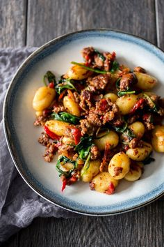 Spicy chorizo is perfectly paired with potato gnocchi for a hearty winter dinner.#spicy #yummy #tasty
