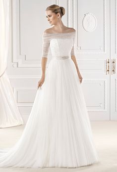 Brides: La Sposa. Esien strapless wedding dress with sheer overlay and half sleeves.