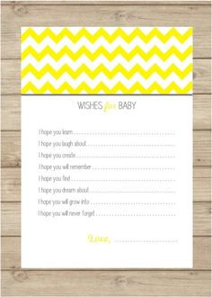Wishes for Baby - Chevron Baby Shower - Grey and Yellow Chevron - Gender Neutral Baby Shower - Baby Shower Games - Baby Shower Ideas - DIY Printable