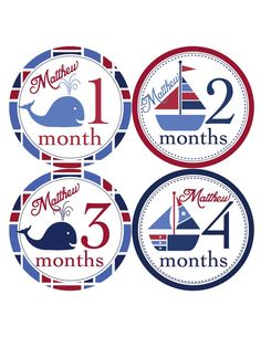 Nautical Baby Monthly Stickers...Sailboats and by BuddhaBellies